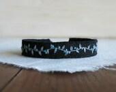 Black Linen Cuff Bracelet - Black Linen with Hand Embroidered Grey Vine and Teal Buds Cuff Bracelet