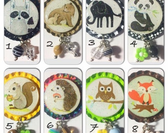 TOP Only**Cute Critters Interchangeable Badge Reel Tops  *PICK one*