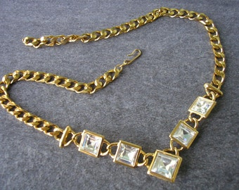 NAPIER Necklace, Vintage , Statement Necklace, Wedding Jewelry, Bridal Jewelry, Rhinestone Necklace, Gold Bridal Choker, Prom Jewelry, Party