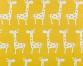 Yellow and white Pair (2 x 50Wpanels) designer kids drapes, Stretch, giraffe, gizella decorator cotton