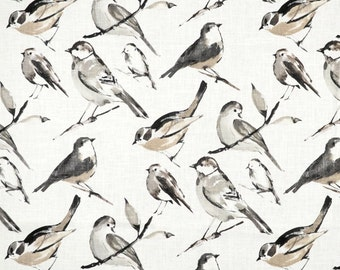 "Two 50"" wide designer curtain panels, drapes birds Richloom Birdwatcher Charcoal grey"