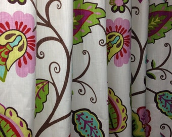 RTS  P Kaufmann Petal Pusher ROSE two pleated panels, 34W x 94L lined designer drapes