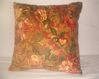 Floral velvet pillow, 18 inches square,  cushion