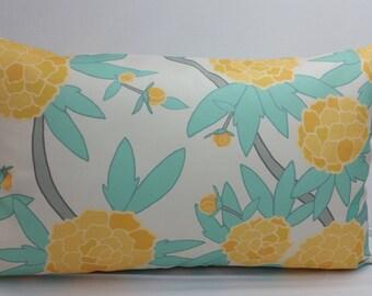 "Spoonflower custom fabric, decorative toss pillow, 20 x 12"" lumbar, white , aqua, yellow flowers RTS"