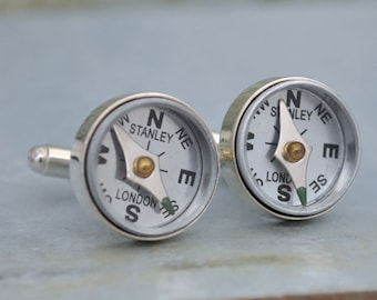 Silver compass cufflinks - GUIDANCE - bright silver cufflinks with miniature working compass, vintage style,