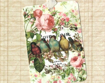 Tags, Gift Tags, Bird Tags, Birds & Roses, Birthday Tags