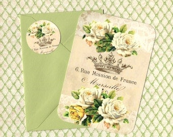 Note Cards, French Roses, Flat Note Cards, Stickers, Vintage Style, Crown