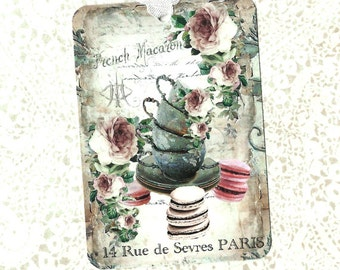 Tags, French Macarons, Gift Tags, French Patisserie, Bakery Tags, Party Favors