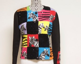 Vintage Zebra Sweater Cardigan size medium by Berek