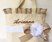 Personalized Wedding Flower Girl Tote with Burlap Floral Ruffles and Bow- Monogrammed Flower Girl Gift Bag