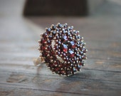 reserved..... Antique Victorian Bohemian Garnet Dome Ring / Rose Cut Pyrope Garnet Ring Size 7.5