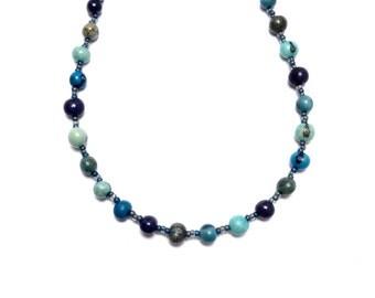 Beaded Necklace, Dyed Acai Necklace, Casual Beaded, Blue Berry Acai, Boho, Beach Beaded Necklace