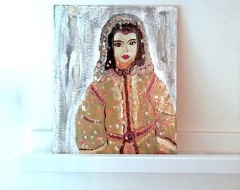 Vintage Acrylic Folkart Portrait Native