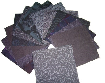 5 Inch CHARM PACK, Black Quilting Cotton