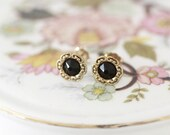 Jet Black Stud Earrings. Vintage Style Small Stud Earrings with 14kt Gold Filled Posts. Small Black And Gold Stud Earrings. Classic Everyday
