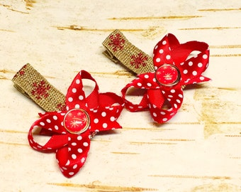 Little Snowflake Christmas Red White Brown Sparkly Satin Bow Hair Clip Set, Accessories for pigtails toddler baby girl Burlap Holiday Outfit