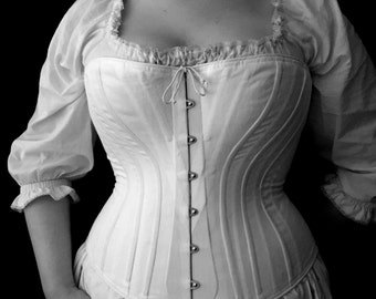 Plus Size c. 1880 Victorian Corset in Cotton Coutil or Brocade