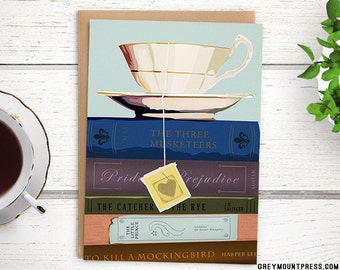 Teacup card: tea & classic novels. Greeting card for booklovers. Pride and Prejudice, tea cup card, book card, teacup stationery, blank card