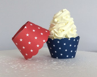 Red White and Blue Cupcake Wrappers Olympic Decor Patriotic
