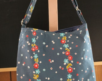 Slouchy Hobo Tote with Adjustable Strap In Blue Floral Stripe