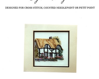 Herefordshire Cottage English Garden Vine Coverd Thatched Roof Chimney Flower Garden Counted Cross Stitch Embroidery Craft Pattern Leaflet