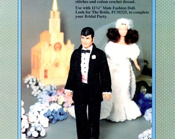 Groom Crochet Tuxedo Jacket Shirt Pants 11.25 Eleven and Quarter Inch Male Fashion Doll Marriage Wedding Outfit Craft Pattern Leaflet FCM326