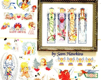 50 Angels Full Body Heads Wings Halos Cherubs Red Hearts Colorful Flower Motifs Counted Cross Stitch Embroidery Craft Pattern Leaflet 3648