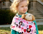 Toy Pouch Style Doll Carrier - Princess Power - Baby Doll Sling - Easy On Easy Off - No Buckles or Ties - Doll Accessories - Fun Prints