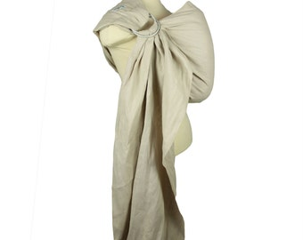 Pleated Shoulder Linen Ring Sling Baby Carrier - Sand - Custom Fit Baby Sling for Newborn to Toddler - Linen Fabric Helps Keep You Cool