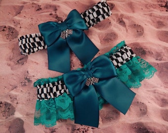 Racing Teal Turquoise Satin Teal Turquoise Lace Checkered Flag Charm Wedding Garter Bridal Toss Set