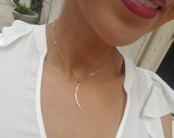 Diamond Crescent Moon, Gold Crescent Moon Necklace, Studded Crescent Moon, White Topaz Charm, White Topaz charm, Gift for Her
