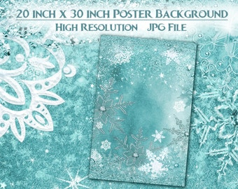 Snowflake Winter Poster Background, 20x30 Frozen Snowflake Poster