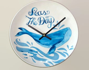 NEW!  Seas The Day Whale Clock, 8-3/4 Inches, SILENT Beach House Decor, Nautical Wall Clock, Beach Wall Decor, Whale Decor, Sea Decor - 2092