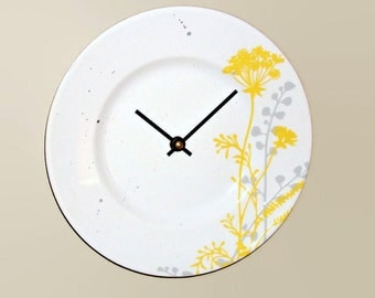 NEW!  Yellow and Gray Floral Wall Clock, Silver and Yellow Clock, SILENT Porcelain Plate Clock, Unique Wall Decor, Kitchen Clock  2066