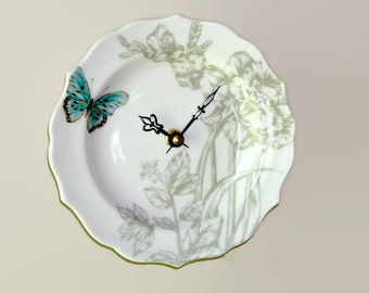"""Small Wall Clock 6-1/2"""", SILENT Sage Turquoise Floral Wall Clock with Butterfly, Porcelain Plate Clock, Unique Wall Clock - 2098"""