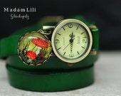 Lucky Mushroom Genuine Leather Roller watch