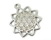 Flower Of Life Charm, Silver Charm,  Flower of Life Symbol, Metal Charms, 25mm, 3 Pieces -C766