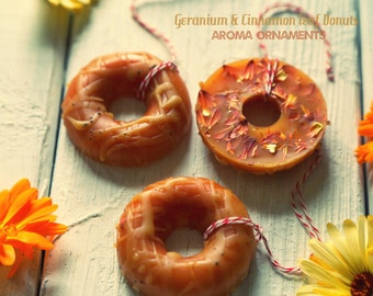 Set of 3. Geranium & Cinnamon leaf Donuts Aroma Ornament. Naturally scented essential oil diffuser. For car, office or kid's room.