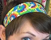 White Bones and Puppy Paw Prints on a Tye Dye Stay Put Headband