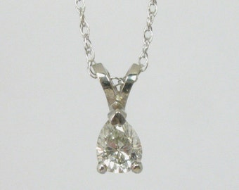 Diamond Pendant - Pear Shape Diamond Pendant - 0.34 Carats