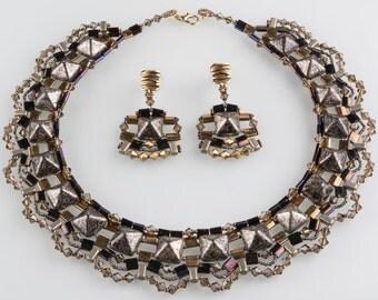 Beadwork Bronze Brown Set, Beadstud Necklace and Earrings, Swarovski Holiday Set