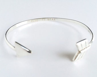 Sterling Silver Arrow Cuff with Inspirational Message