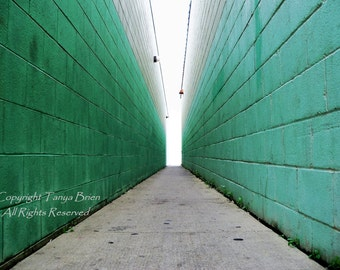 Urban Alley, Modern, Minimalilst, Urban, Alley, Edgy, Hipster, Aqua, Mint Green, Retro, Mid Century, Artistic Photograph, Unisex, Home Decor