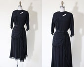 40s Dress - Vintage 1940s Dress - Black Rayon Deco Moon Cutout Swagged Peplum Swing Dress S M - Wicked Moon Dress