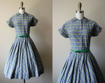 1950s Vintage Dress - 50s Dress - Stripes Hearts Novelty Cotton Shirt Dress w Brass Hearts XS - Pitterpat Dress