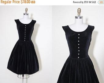 ON SALE 1950s Party Dress - Vintage 50s Dress - Black Velveteen Rhinestone Novelty Full Skirt Party Dress M - Sparkle Plenty Dress