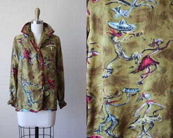 1950s Blouse - 50s Vintage Novelty Print Olive Green Mexican Sombrero Dancers Silk Top - Caliente Shirt