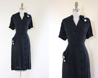 40s Dress - Vintage 1940s Dress - Black Emerald Green Linen Rayon Deco Dress M - Green with Envy Dress