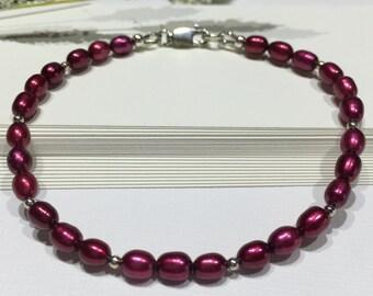 Bracelet-Burgundy Potato Pearl-Sterling Silver Ball Beads-Lobster Clasp Closure-Wrist Size 7-Layering Bracelet-Maroon-Plum-Feminine-For Her