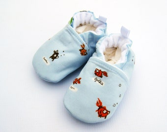 Classic Vegan Fish out of Bags All Fabric Soft Sole Baby Shoes / Made to Order / Babies  FOOB Heather Ross Goldfish Blue Boy